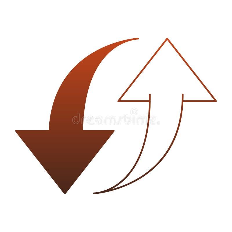 Upload en download symbool rode lijnen royalty-vrije illustratie