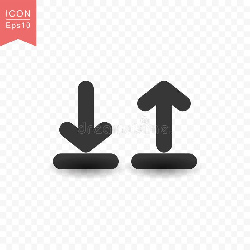 Upload en download vectorillustratie van de pictogram de eenvoudige vlakke stijl royalty-vrije illustratie