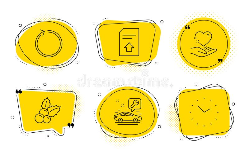Upload file, Loop and Car service icons set. Christmas holly, Hold heart and Time signs. Vector. Christmas holly, Hold heart and Time signs. Chat bubbles. Upload royalty free illustration