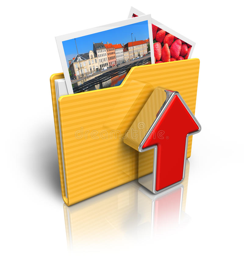 3d Folder Icon With The Video Stock Illustration