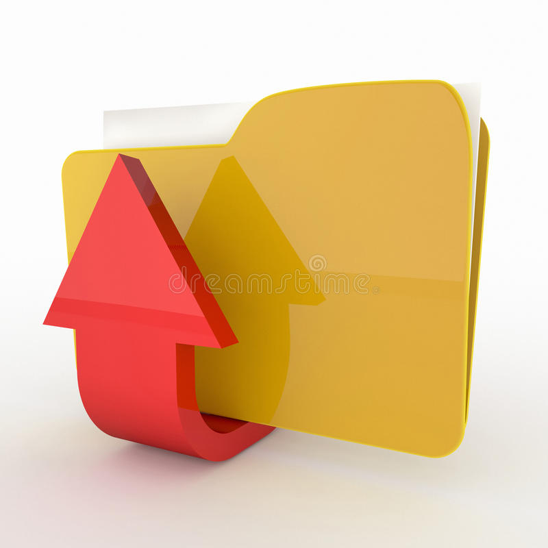 Upload folder icon. 3d high quality render royalty free stock photo