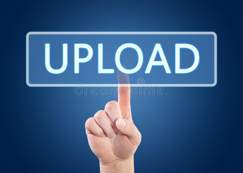 Upload. Hand pressing Upload button on interface with blue background vector illustration