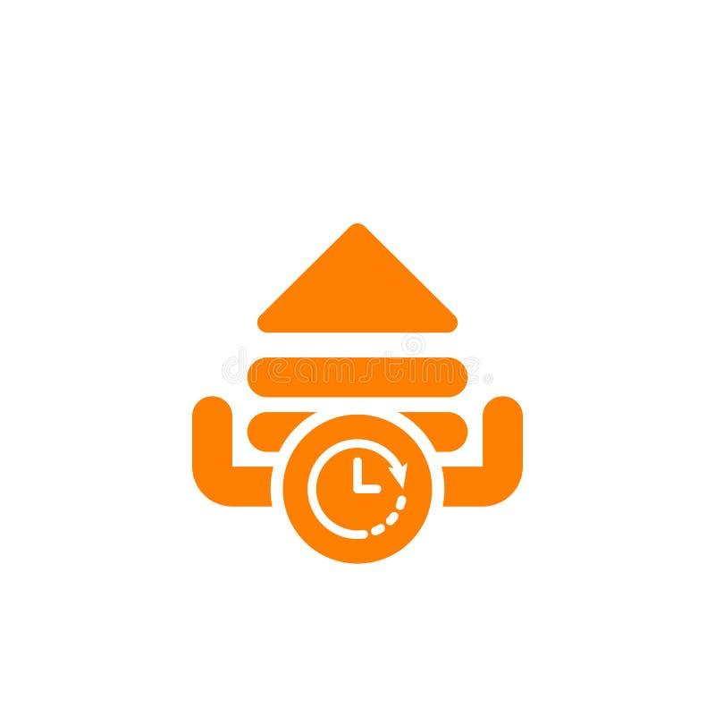 Upload ikonę, strzała ikona z zegaru znakiem Upload ikonę i odliczanie, ostateczny termin, rozkład, planistyczny symbol ilustracji