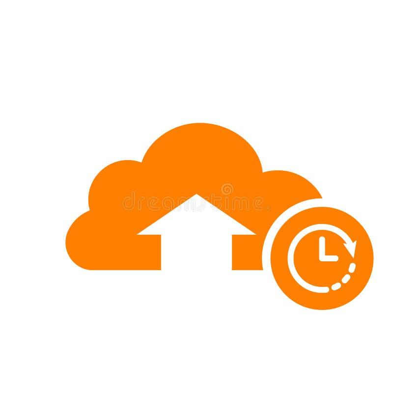 Upload ikonę, strzała ikona z zegaru znakiem Upload ikonę i odliczanie, ostateczny termin, rozkład, planistyczny symbol royalty ilustracja