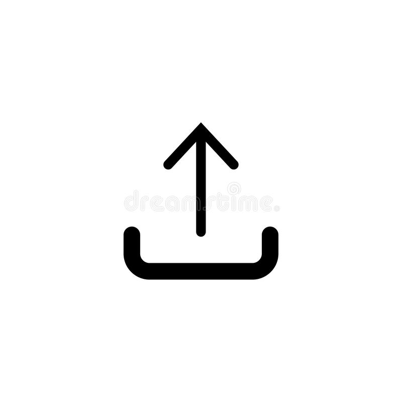 Upload ikona w modnym mieszkanie stylu odizolowywającym na białym tle ilustracji