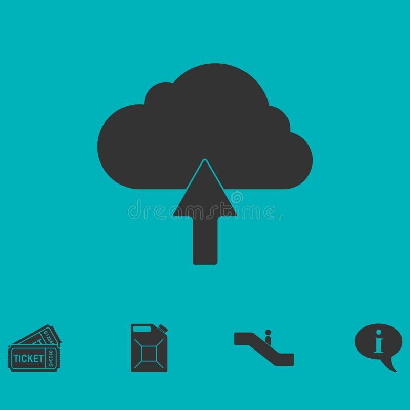 Upload ikony obłoczny mieszkanie ilustracja wektor