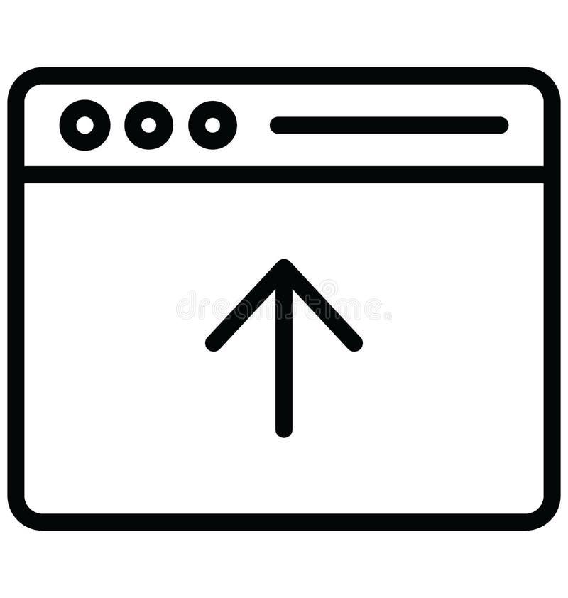 Upload knoopvector met betrekking tot Webbrowservensters en volledig editable upload knoopvector met betrekking tot Webbrowserven royalty-vrije illustratie