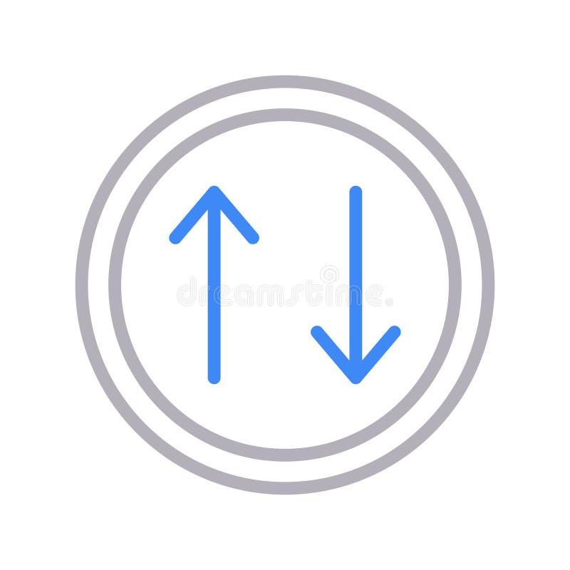 Upload lline vectorpictogram van de download dun kleur royalty-vrije illustratie
