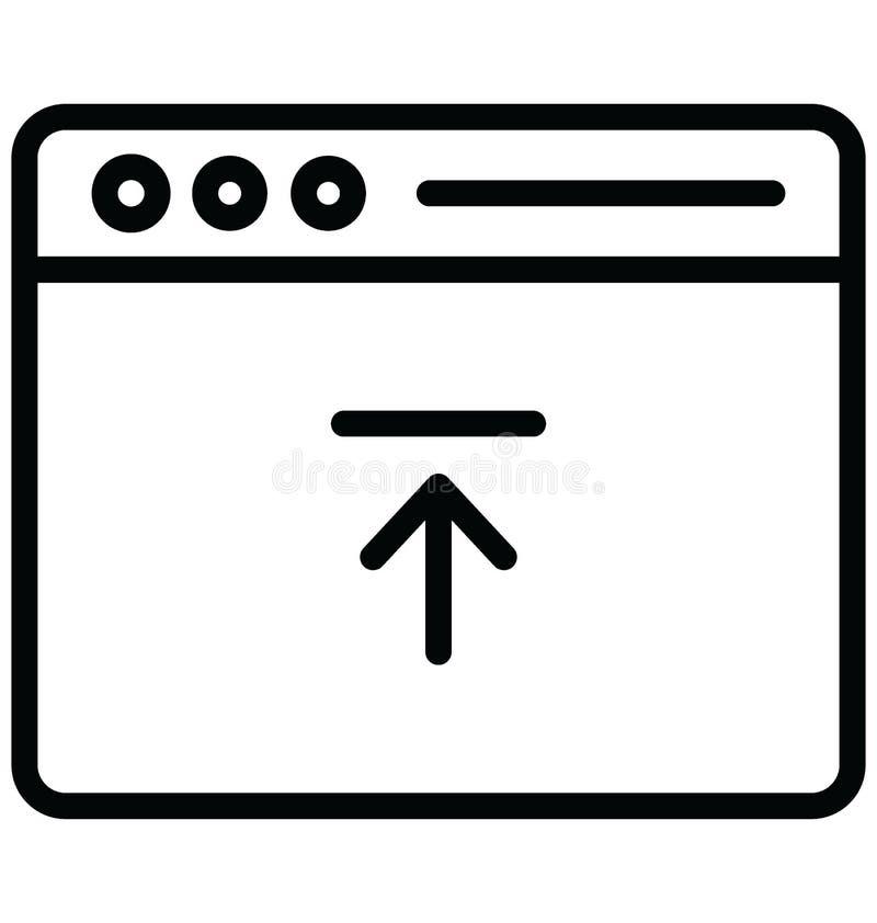 Upload met betrekking tot Webbrowservensters en volledig editable gegevensvector stock illustratie