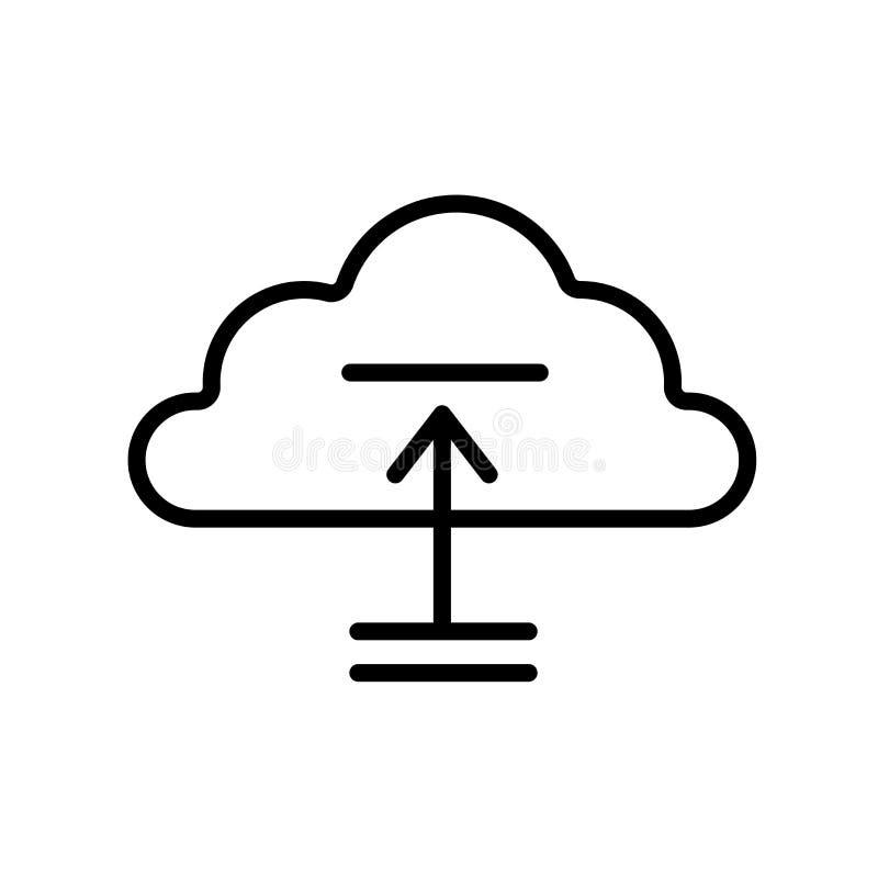 Upload Obłoczny ikona wektor odizolowywający na białym tle, Upload royalty ilustracja