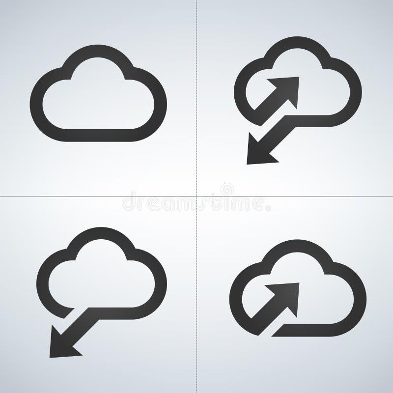 Upload om te betrekken, download van wolk, sunc pictogramreeks Vectordieillustratie op moderne achtergrond wordt geïsoleerd stock illustratie