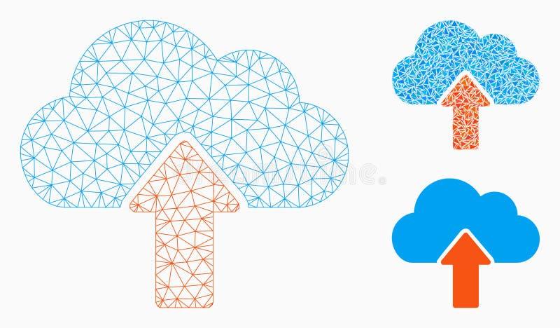 Upload om Vector het Mozaïekpictogram van Mesh Network Model te betrekken en van de Driehoek royalty-vrije illustratie