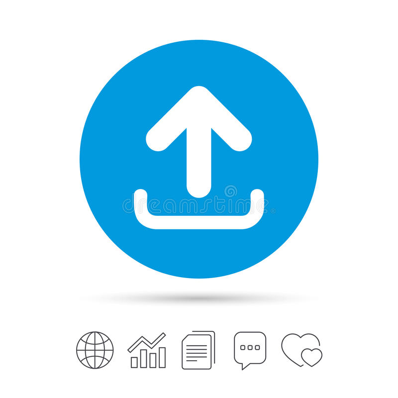 Upload sign icon. Load symbol. Upload sign icon. Load data symbol. Copy files, chat speech bubble and chart web icons. Vector vector illustration