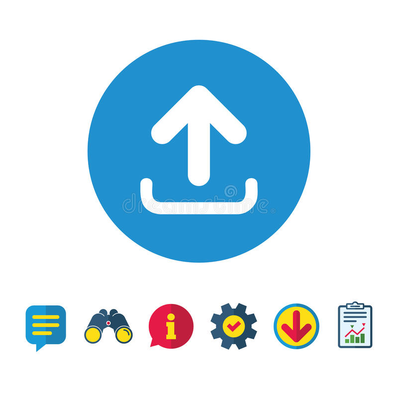 Upload sign icon. Load symbol. Upload sign icon. Load data symbol. Information, Report and Speech bubble signs. Binoculars, Service and Download icons. Vector royalty free illustration