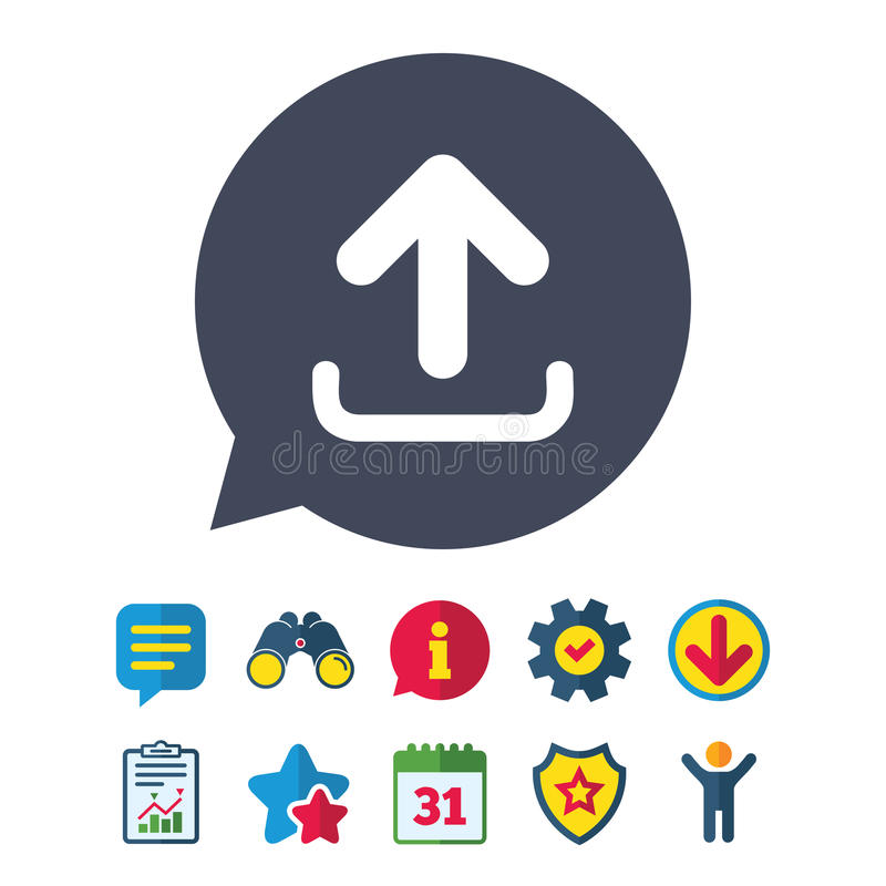 Upload sign icon. Load symbol. Upload sign icon. Load data symbol. Information, Report and Speech bubble signs. Binoculars, Service and Download, Stars icons royalty free illustration