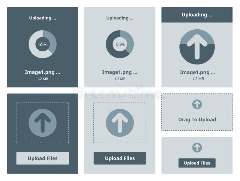 Upload vector interface. Vector illustration set of modern minimalistic web upload widget interface royalty free illustration