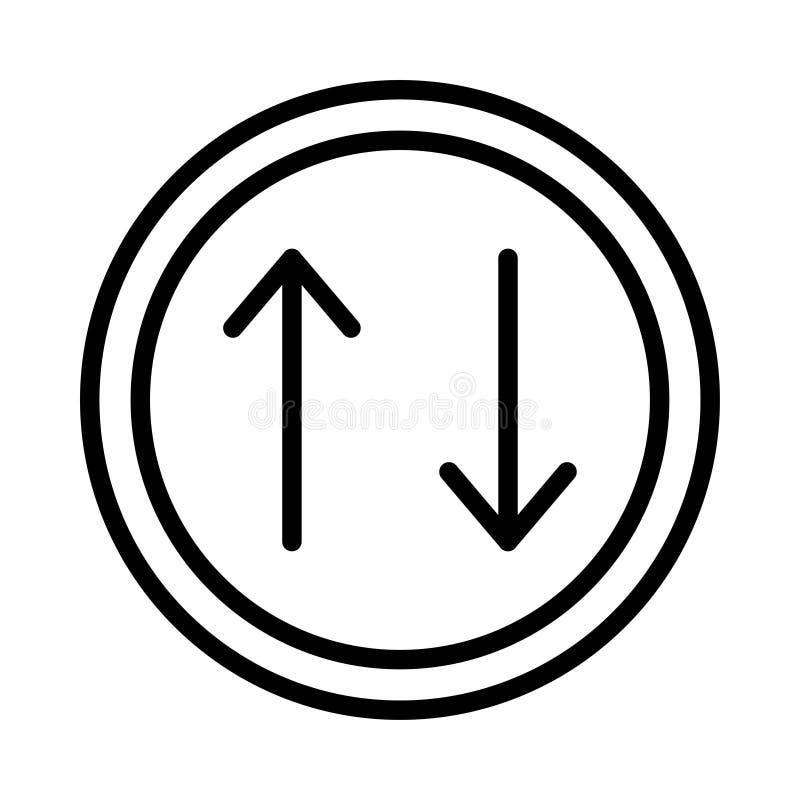 Upload vectorpictogram van de download het dunne lijn stock illustratie