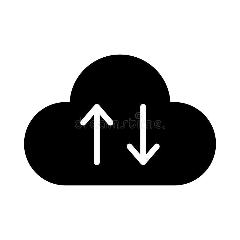 Upload vectorpictogram van de downloadwolk glyph het vlak royalty-vrije illustratie