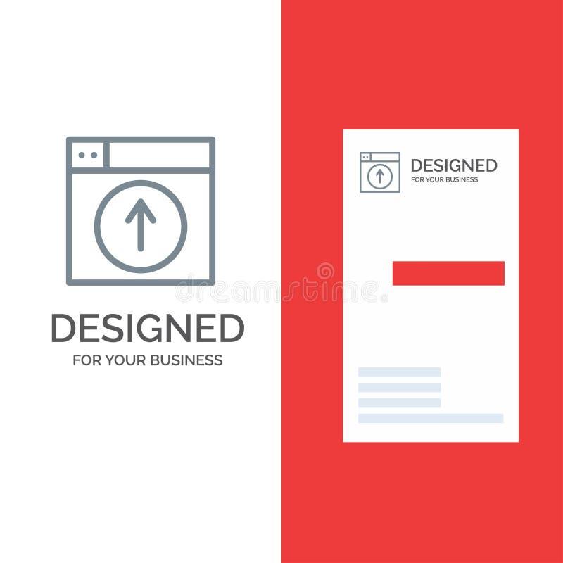 Upload, W górę, sieć, projekt, zastosowanie logo Popielaty projekt i wizytówka szablon, ilustracji