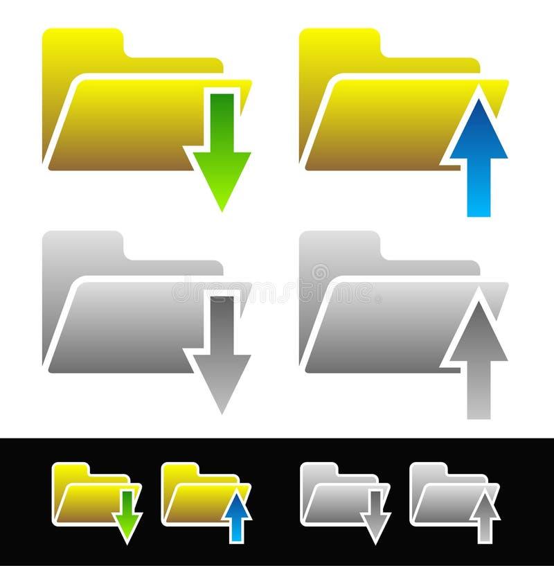 Uploaden-downloadpictogrammen Omslagen met pijlen vectorillustratie royalty-vrije illustratie