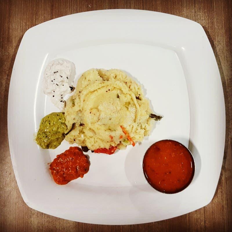Upma indisk frukost royaltyfria foton