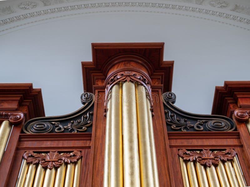 Uppåtriktad sikt av för århundraderör för massiv ek ett 19th organ royaltyfria foton