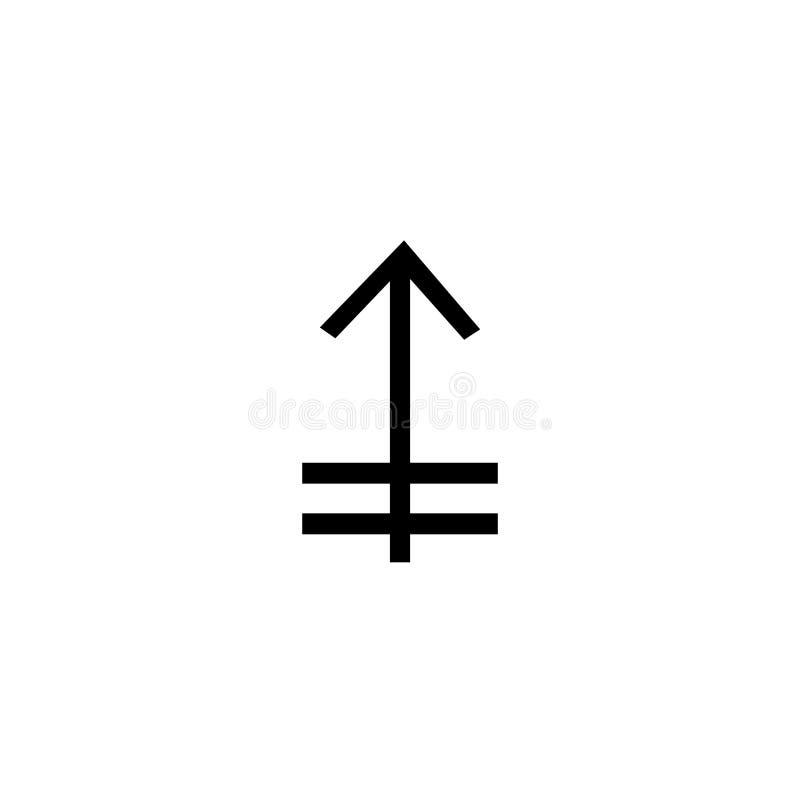 Uppåtriktat symbolsvektortecken och symbol som isoleras på vit bakgrund, uppåtriktat logobegrepp royaltyfri illustrationer