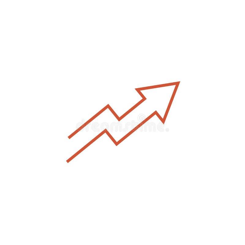 Upp den tunna linjen l?genhetf?rgsymbol f?r pil Linj?r vektorillustration Pictogram som isoleras p? vit bakgrund vektor illustrationer