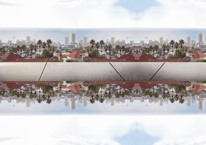 upp för sida stad ner avspegla effekt, med järn mellan två citys stock illustrationer