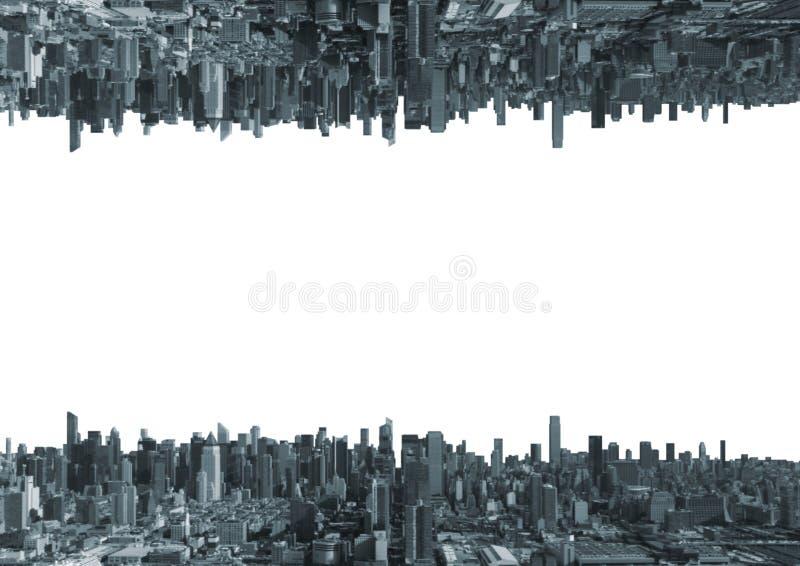 Upp för sida stad ner med vit bakgrund arkivbild