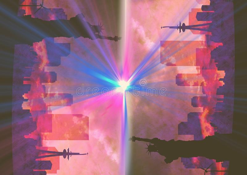 upp för sida stad ner NY med signalljus Rosa färger royaltyfri illustrationer