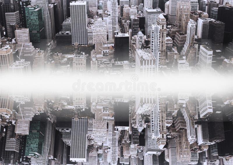 upp för sida stad ner spegeleffekt med vit blossar i mitt av två städer vektor illustrationer