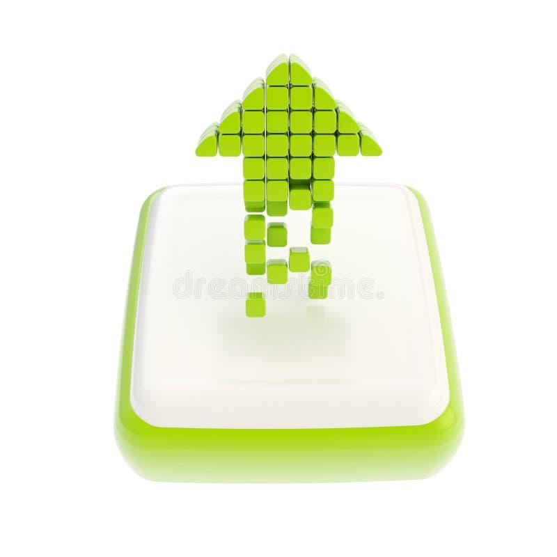 Upp grön pilsymbolsymbol över den fyrkantiga knappen stock illustrationer