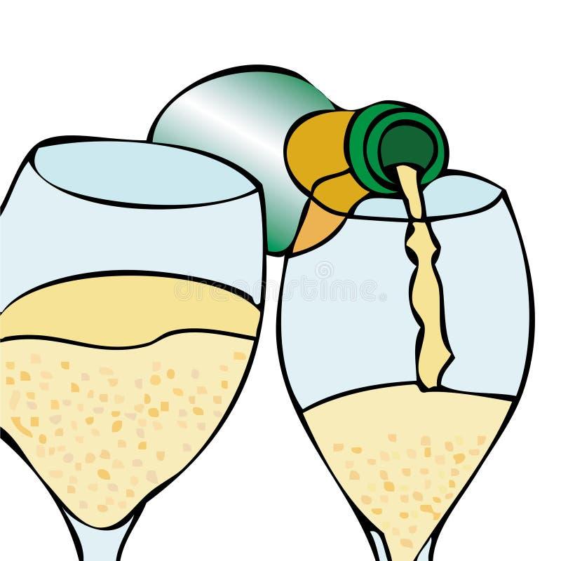 Uppassare Champagne stock illustrationer