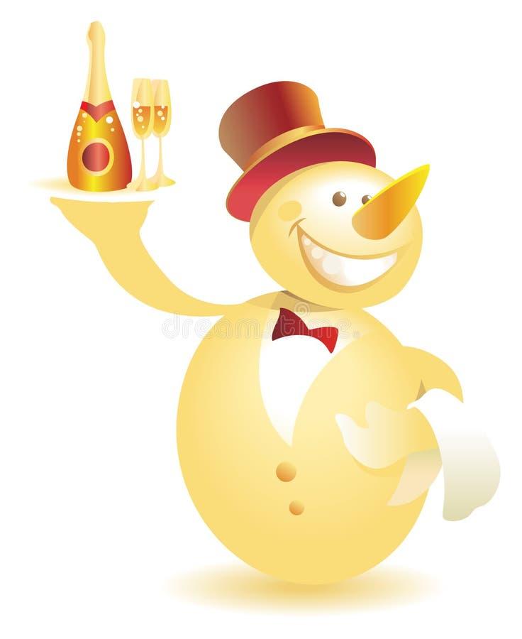 uppassare för champagneguldsnowman stock illustrationer