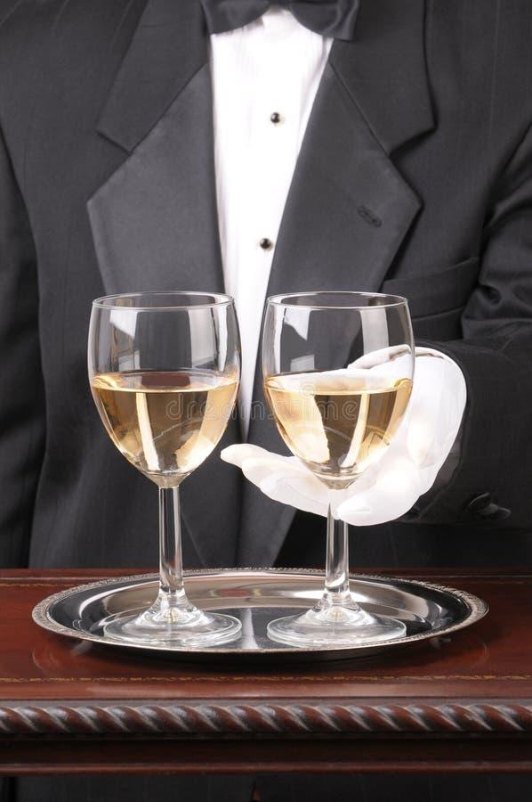 uppassare för chardonnay exponeringsglas två arkivfoto