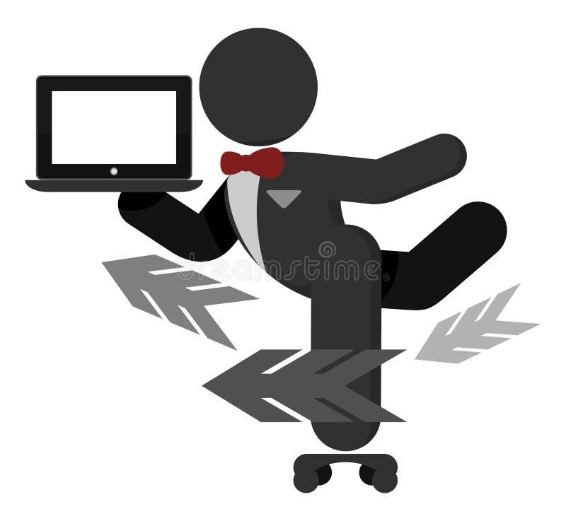 uppassare för tablet för skridsko för serves för illustrationPCrulle vektor illustrationer