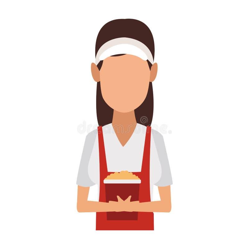 Uppassare för ung kvinna med popcorn stock illustrationer