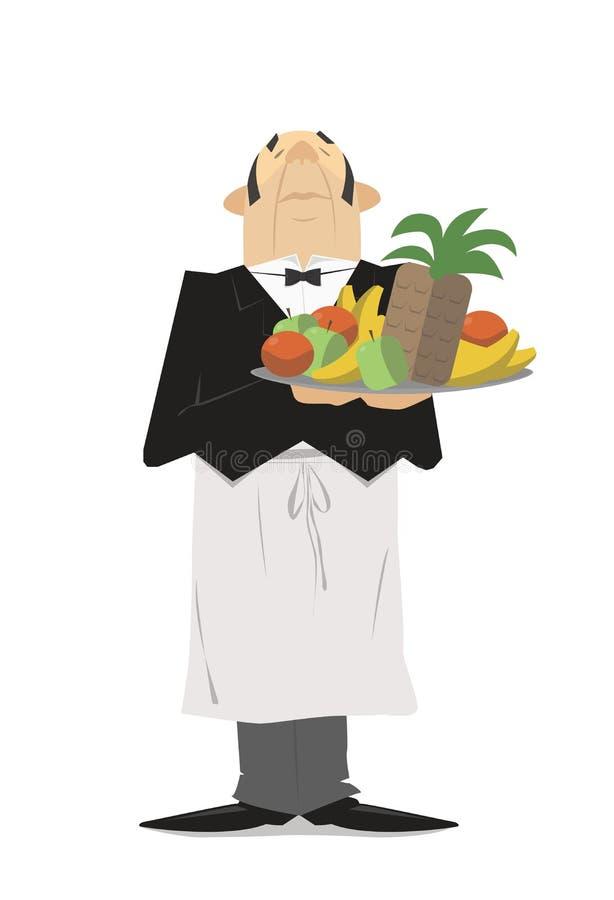 Uppassare i dräkt med ett magasin av frukt Vektortecknad film stock illustrationer
