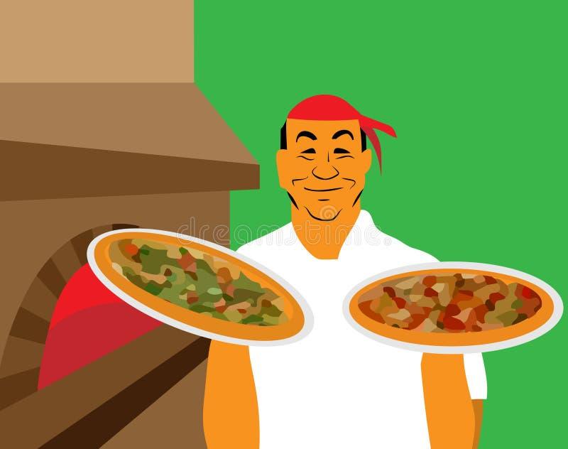 Uppassare i likformig med pizza vektor illustrationer