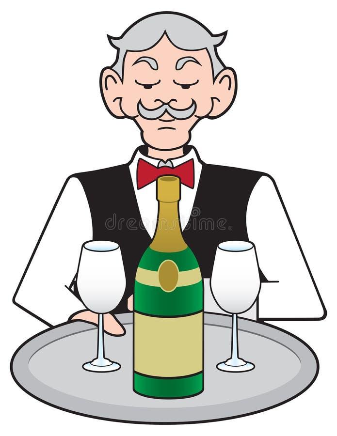 Uppassare med champagne vektor illustrationer