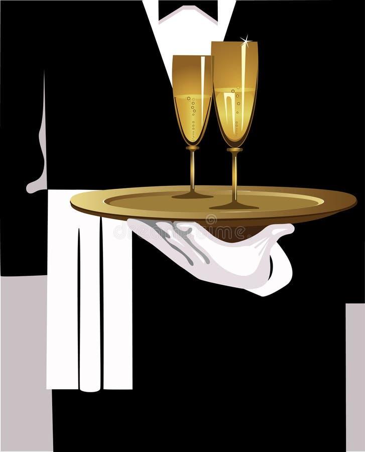 Uppassare med champagne royaltyfri illustrationer