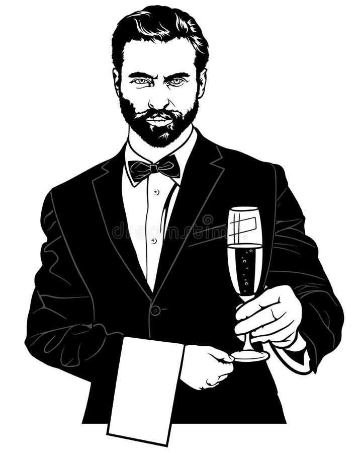 Uppassare med Champagne Glass vektor illustrationer