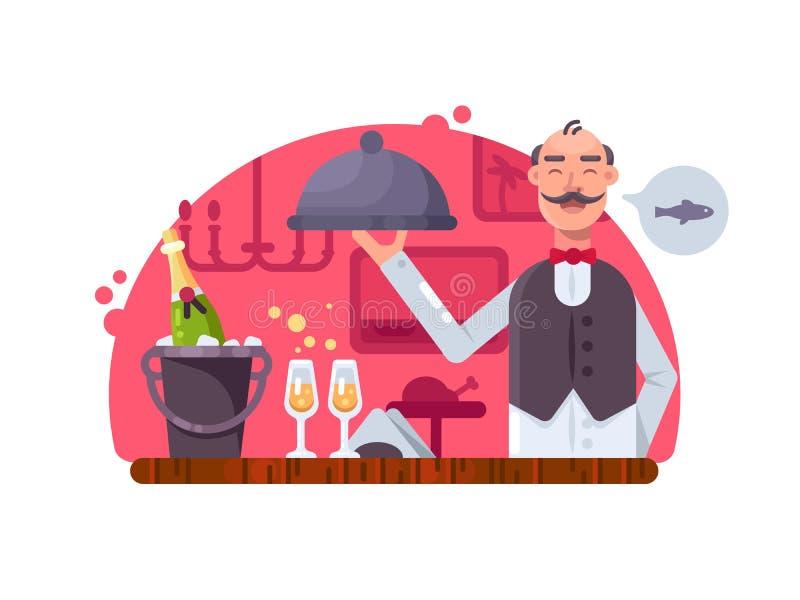 Uppassare med den near tabellen för maträtt royaltyfri illustrationer
