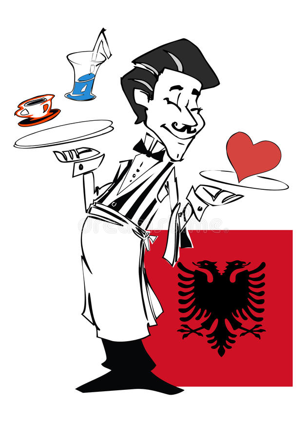 Uppassare med flaggan av Albanien stock illustrationer