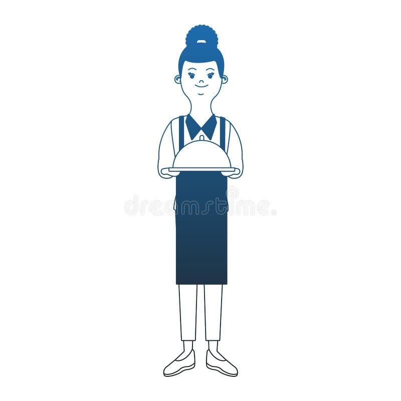 Uppassare med maträttblålinjen royaltyfri illustrationer