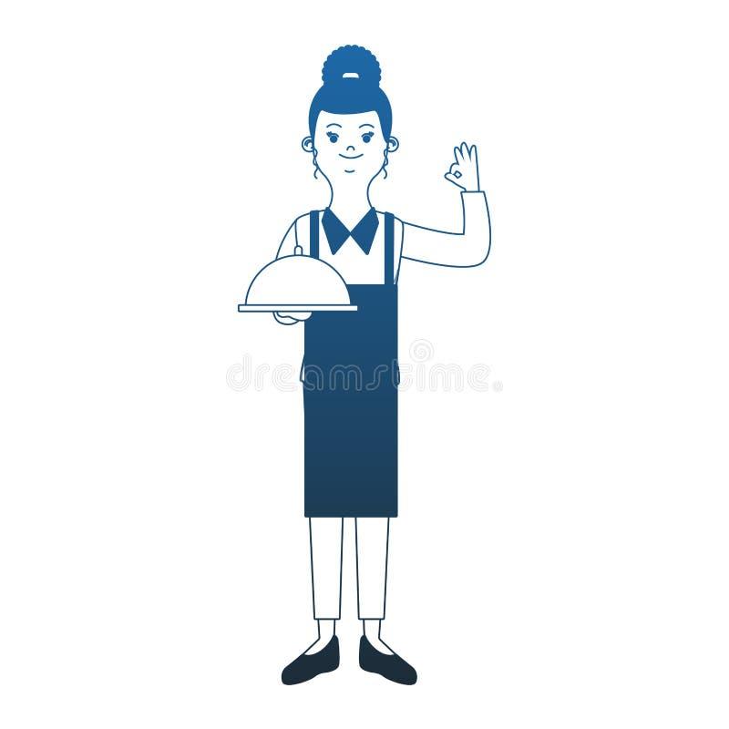 Uppassare med maträttblålinjen stock illustrationer