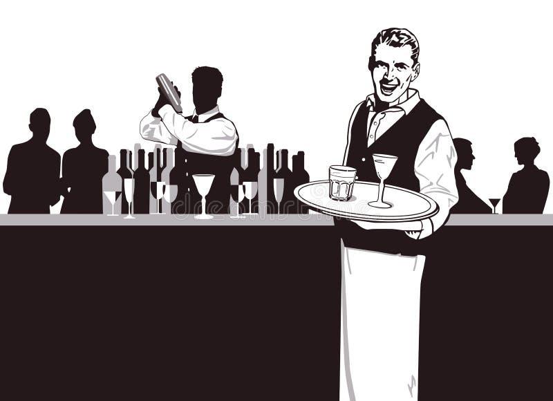 Uppassare och Bartender royaltyfri illustrationer