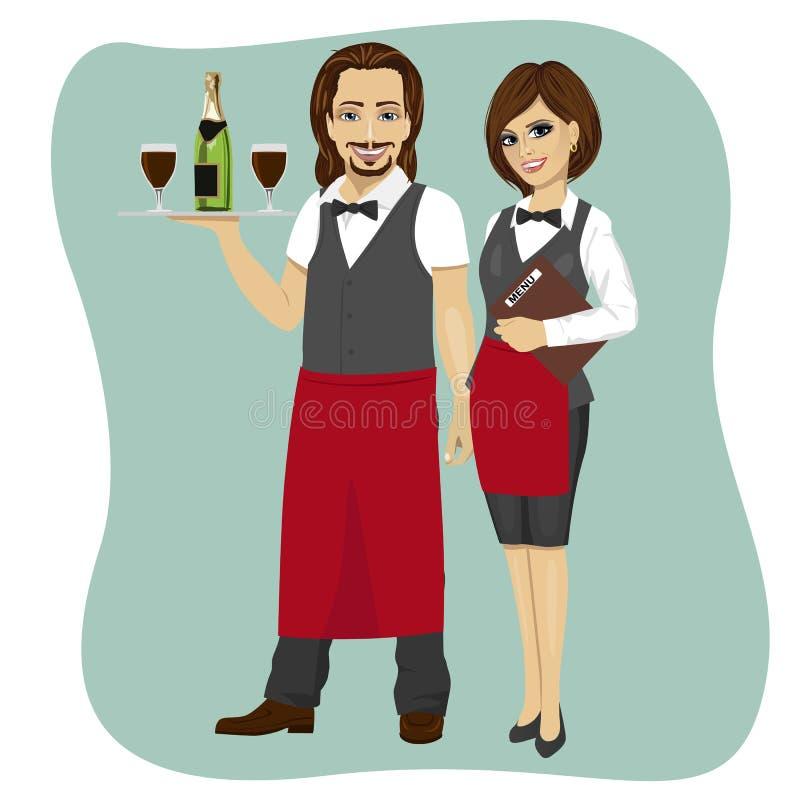 Uppassare och servitris som rymmer ett portionmagasin med exponeringsglas och flaskan av champagne och menyn stock illustrationer