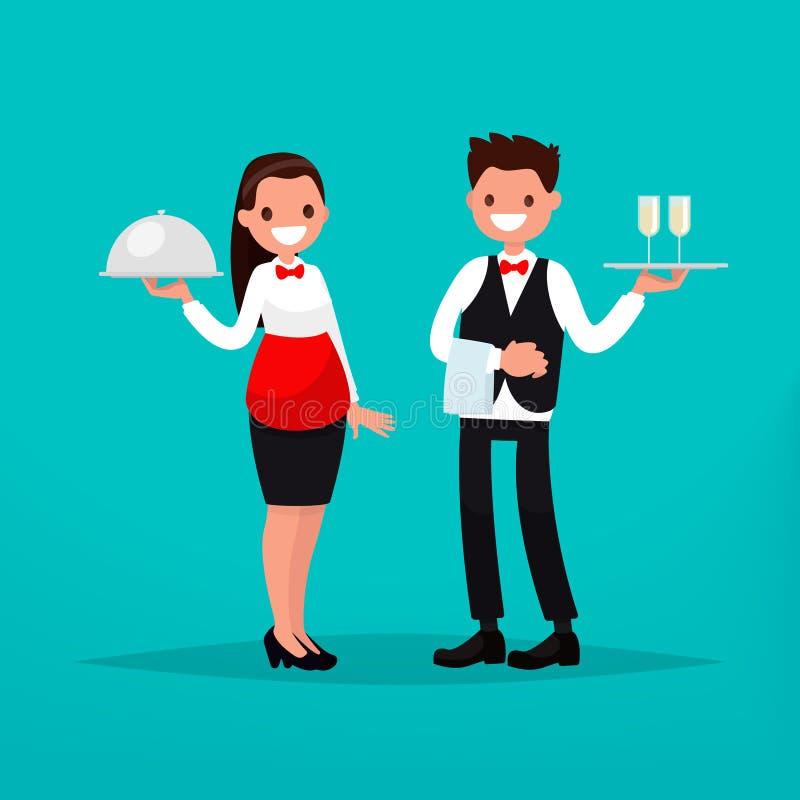 Uppassare- och servitrisrestaurang också vektor för coreldrawillustration stock illustrationer